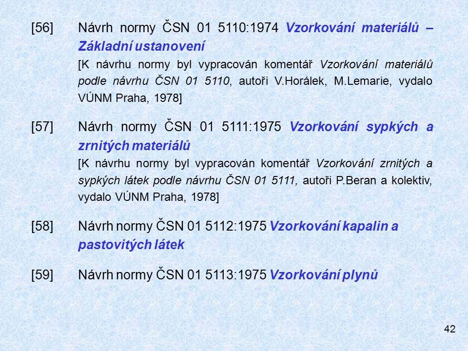 [59] Návrh normy ČSN 01 5113:1975 Vzorkování plynů